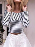 On the Line Striped Off-the-Shoulder Top