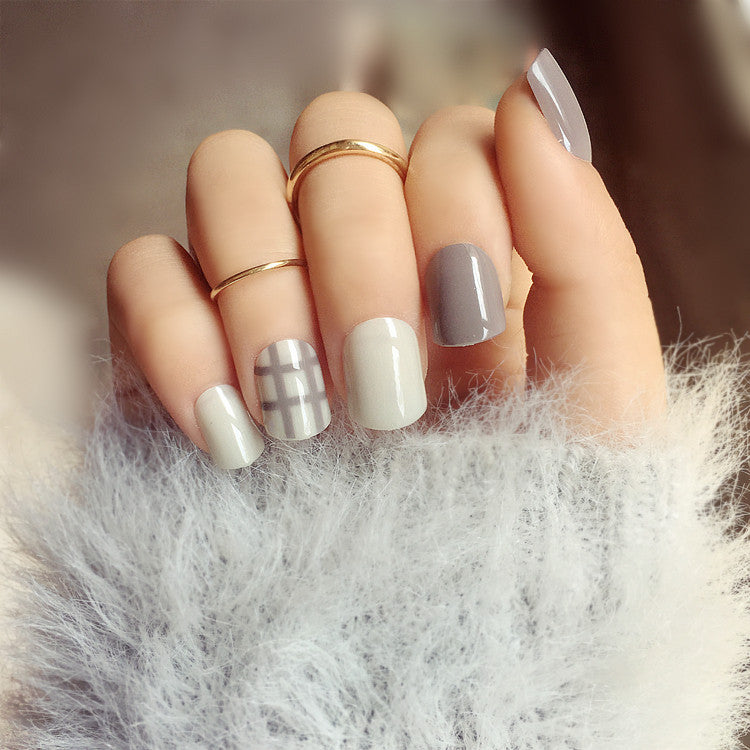 Grey Stripe Elegant False Nails/fake Nails