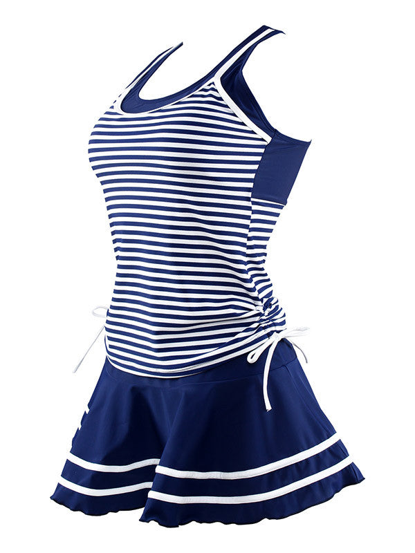 Sailor Style Striped Pleated Skirt Swimsuit