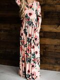Long Sleeve Retro Floral Dress - WealFeel