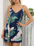 Holiday Leaf Print V-neck Mini Dress - WealFeel