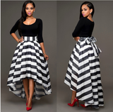 Two-piece Set Top+Striped Skirt - FIREVOGUE