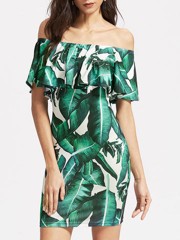 Women Off Shoulder Leaf Print Ruffles Mini Dress - WealFeel