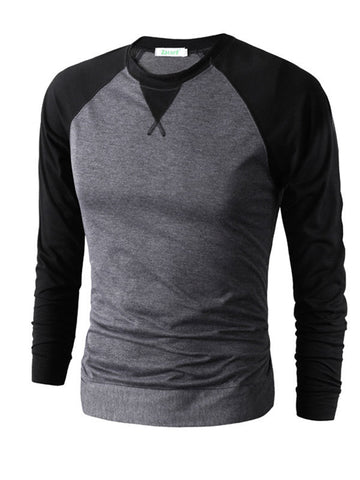 Men's Fight color Long Sleeve Causal T-shirts