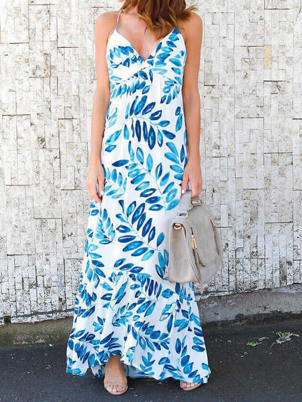 Leaves Print Sleeveless Sling Long Dresses