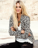 Leopard Print Lapel Blazer in Slim Fit
