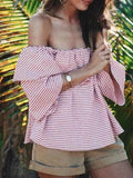 Casual Stripe Off Shoulder Ruffle Top - WealFeel