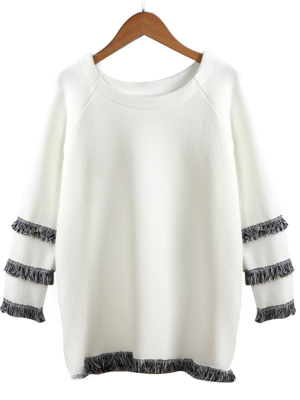 Nine-point sleeve Knitted Tassel T-shirt - FIREVOGUE