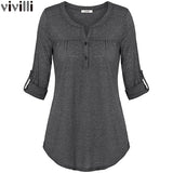 Vivilli New Spring Summer Roll up Long Sleeve Women Knitted Blouse with Buttons Fitted Casual Curved Hem Female Solid Tunic Tops