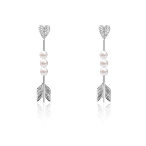 WYA HEART ARROW HEART PAVE EARRING - WealFeel