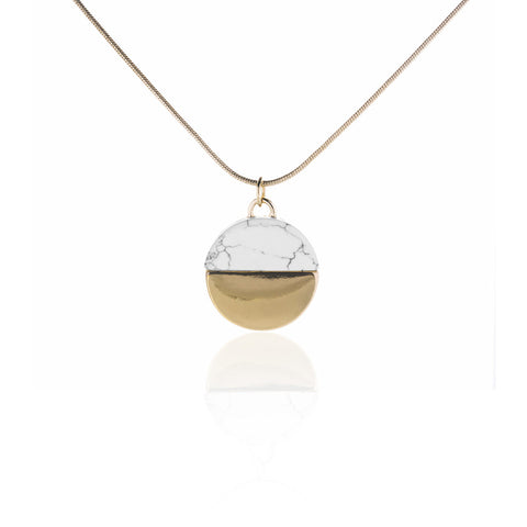 PLATED NECKLACE WITH WHITE MARBLE