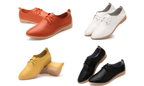 Women's Leisure Lace-up Wingtip Flat Oxford Shoes