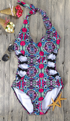 Multi-color  Hollow Pattern One Piece Swimwear