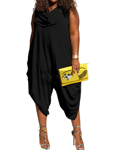 Plus Size Solid Shawl Collar Jumpsuits