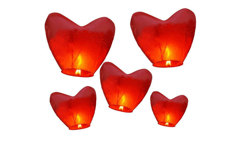 Heart Design Sky Lanterns for Wedding or Birthday(27-Pack) - FIREVOGUE