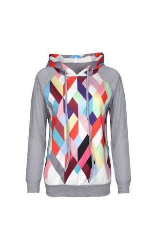 Diamond Printed Hooded Sweatshirt