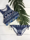 Geometric Painted High Neck Tankini Bikini Sets - FIREVOGUE