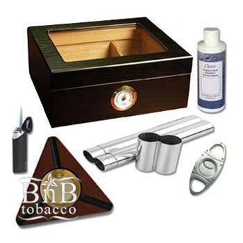 Capri Black Oak Glasstop Humidor Kit