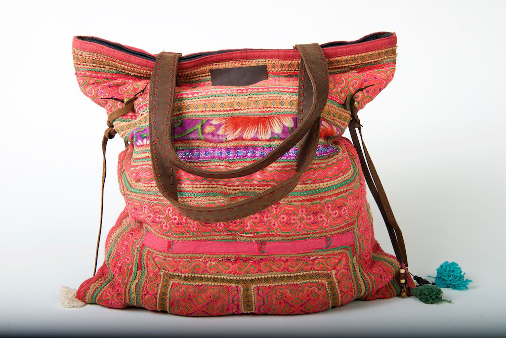 Casablanca - Large Vintage Boho Shoulder Bag Hmong Fabric in Red and Pink