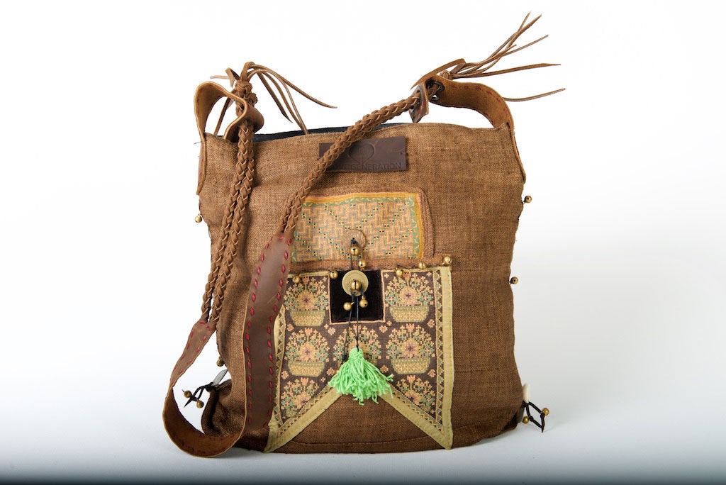 Sabrina - Vintage Shoulder Bag in Coffee Colour Hemp & Vintage Hmong Fabric