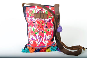 Bohemian Rhapsody -  Shoulder Boho Bag Hmong Fabric in Red with Pompom Detail