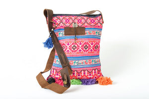 Bohemian Rhapsody -  Shoulder Boho Bag Hmong Fabric in Pink and Blue with Pompom Detail