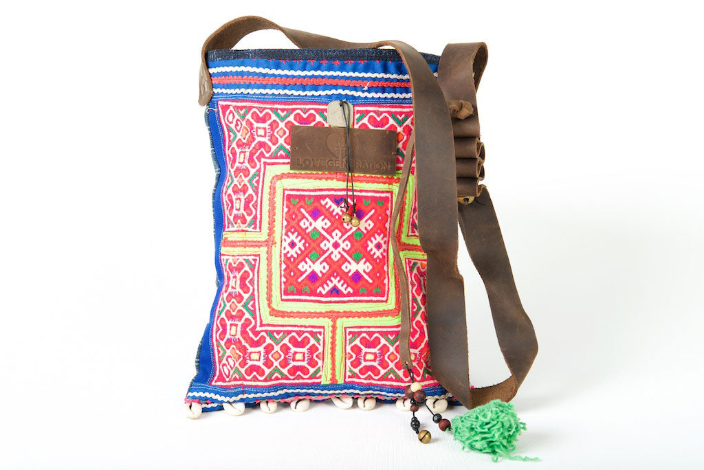 Bohemian Rhapsody -  Shoulder Boho Bag Hmong Fabric in Pink, Yellow and Blue with Pompom Detail