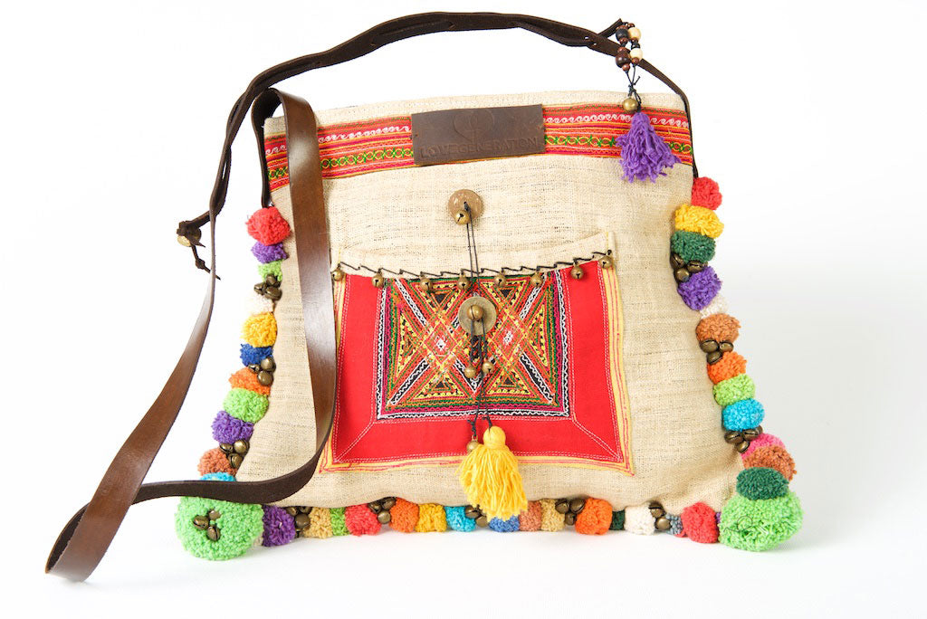 Roman Holiday - Vintage Boho Shoulder Bag in Ivory White Hemp With One Of A Kind Multi Coloured Detail