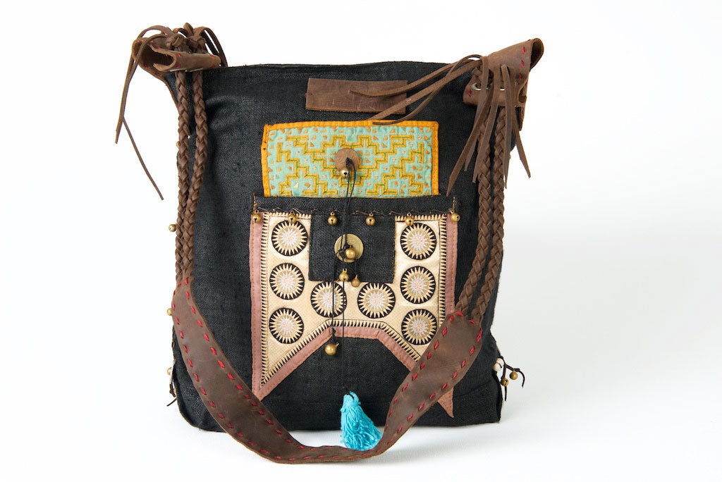 Sabrina - Vintage Shoulder Bag in Charcoal Black Colour Hemp & Vintage Hmong Fabric