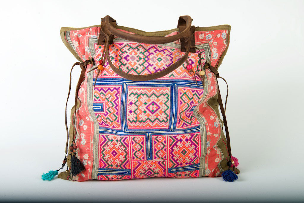 Casablanca - Large Vintage Boho Shoulder Bag Hmong Fabric in Pink and Blue