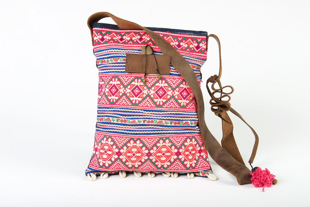 Bohemian Rhapsody - Pink & Sunned Blue Shoulder Boho Bag Hmong Shells Crossbody