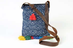 Bohemian Rhapsody - Pink & Blue Shoulder Boho Bag Hmong Fabric with Pompom Detail