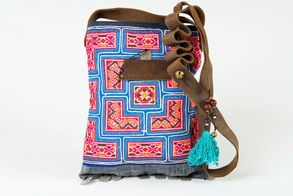 Bohemian Rhapsody - Red & Blue Shoulder Boho Bag Hmong Shells Crossbody