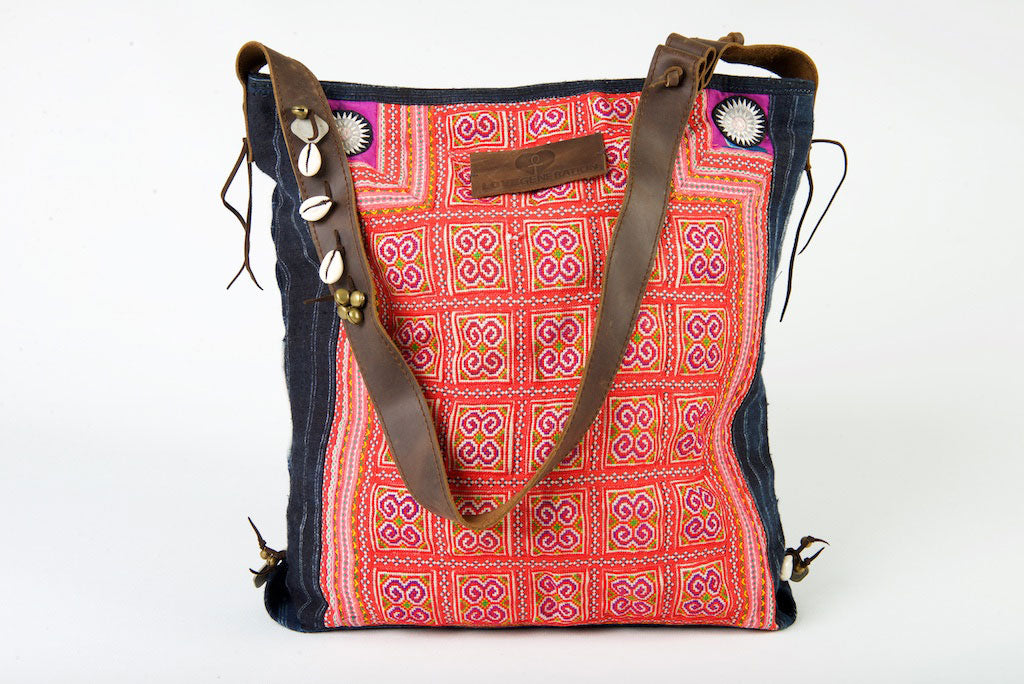 Little Rebel - Unique Handmade Boho Tote Handbag With Leather Detail -  Red & Purple