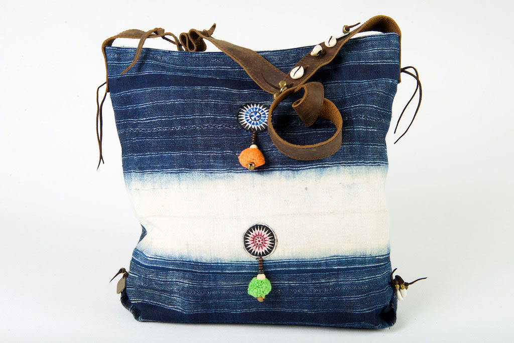 Little Rebel - Unique Handmade Boho Tote Handbag With Leather Detail -  Purple, Green & Indigo