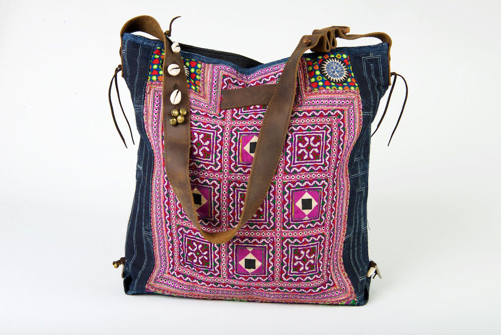 Little Rebel - Unique Handmade Boho Tote Handbag With Leather Detail - Purple