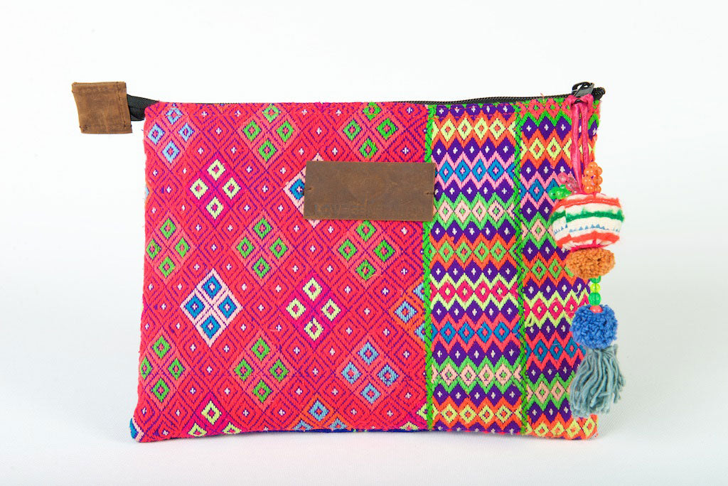iPad Case, Bohemian in Pink and Blue One Of A Kind Made From Vintage Hmong Tribal Fabric