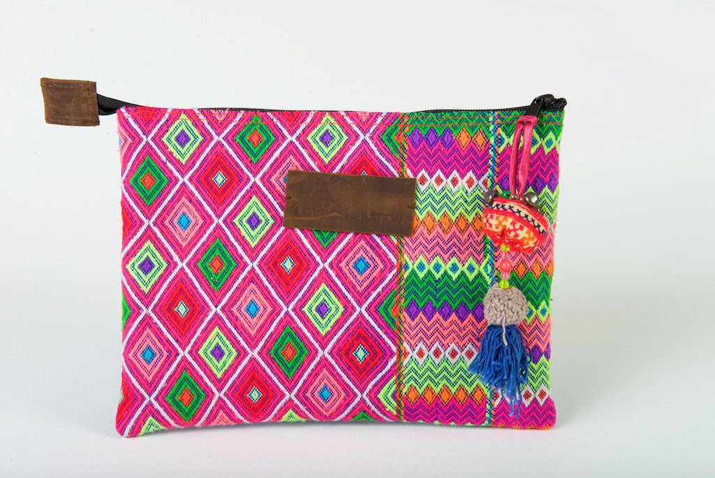 iPad Case, Bohemian in Blue, Green & Pink One Of A Kind Made From Vintage Hmong Tribal Fabric