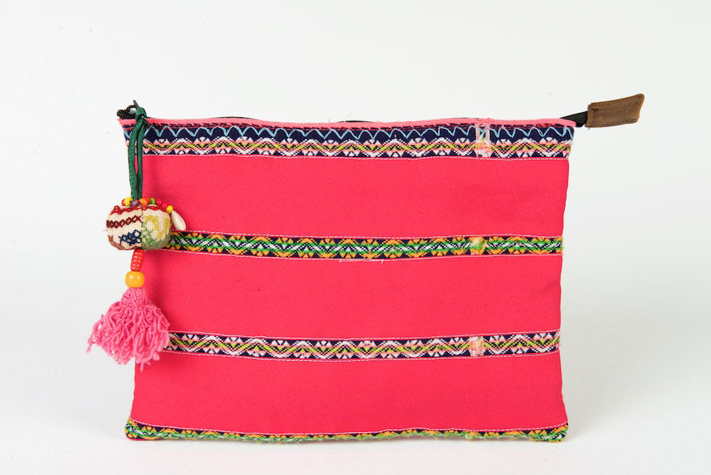 iPad Case, Bohemian in Red & Pink One Of A Kind Made From Vintage Hmong Tribal Fabric