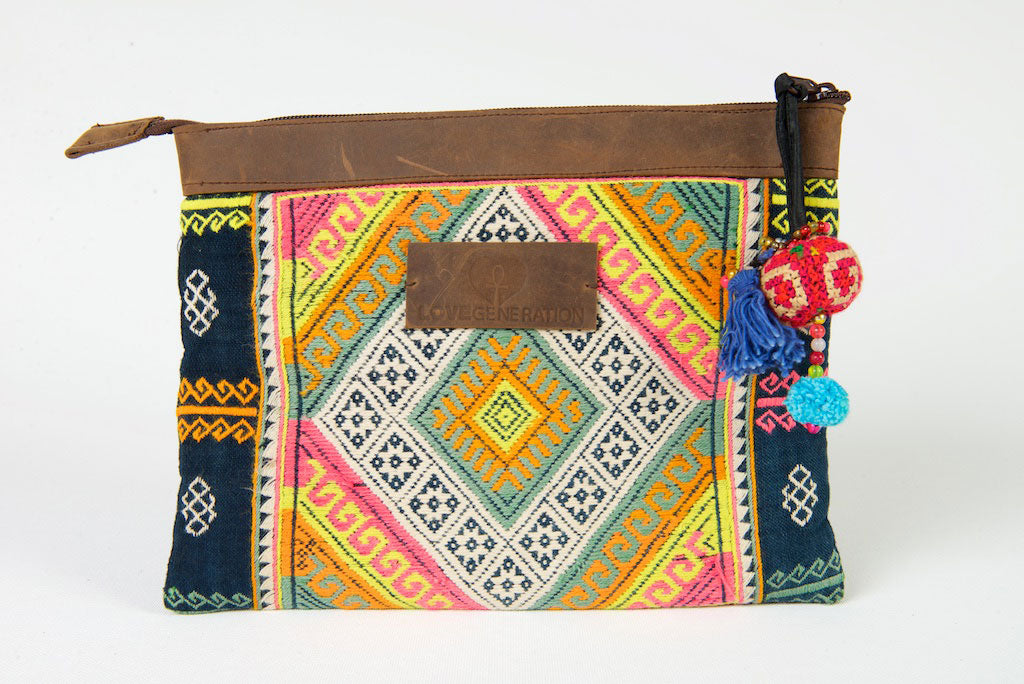 iPad Case, Bohemian in Green and Yellow Pattern One Of A Kind Made From Vintage Hmong Tribal Fabric