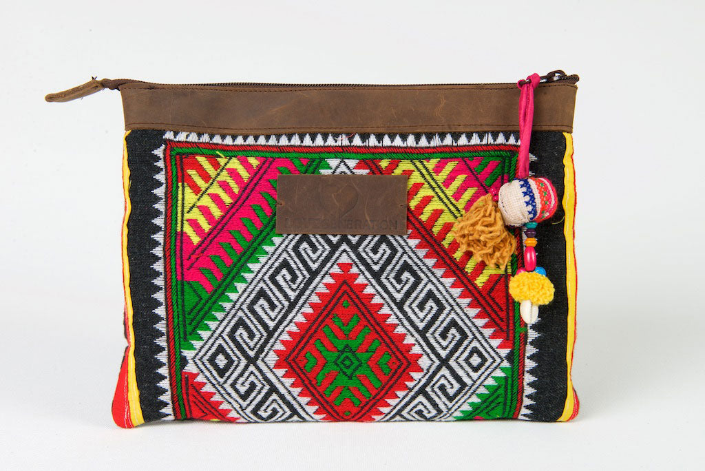 iPad Case, Bohemian in Red, Green and Yellow Pattern One Of A Kind Made From Vintage Hmong Tribal Fabric