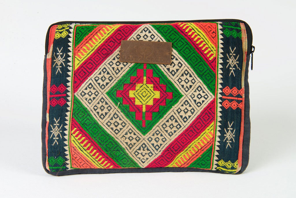 Laptop Bag 13 Inch Boho Gold & Green One Of A Kind Made From Vintage Hmong Tribal Fabric