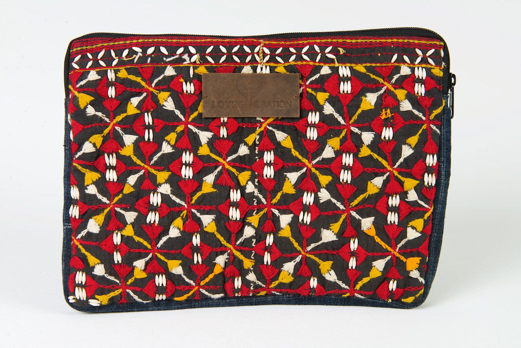 Laptop Bag 13 Inch Boho Yellow & Red One Of A Kind Made From Vintage Hmong Tribal Fabric