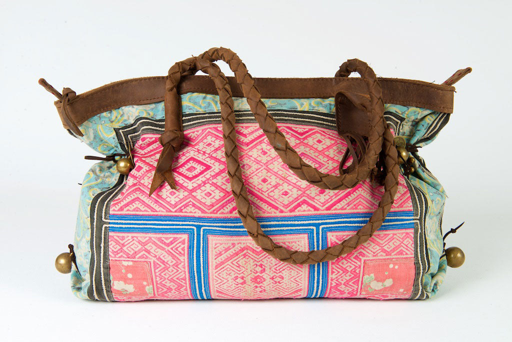 Breakfast at Tiffanys - Large Boho Shoulder Bag - Bohemian Handbag Vintage Pink, Turquoise & Blue