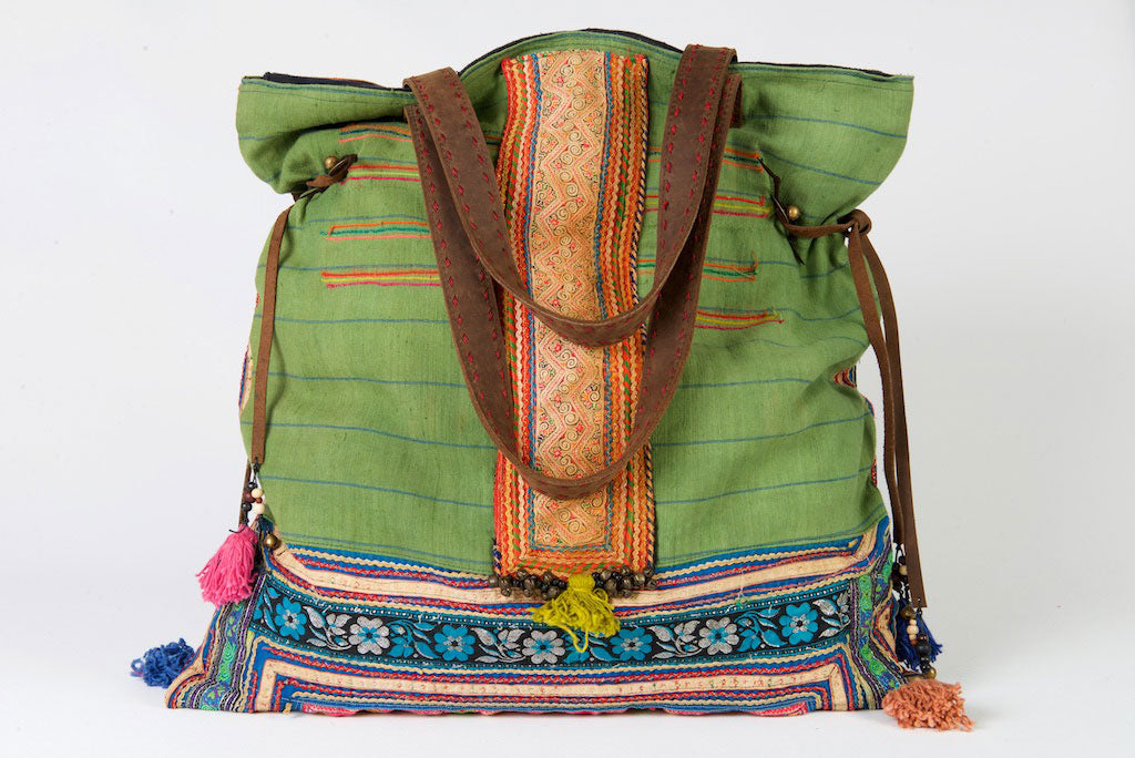 Casablanca - Large Vintage Boho Shoulder Bag Hmong Antique Red, Green and Blue Fabric