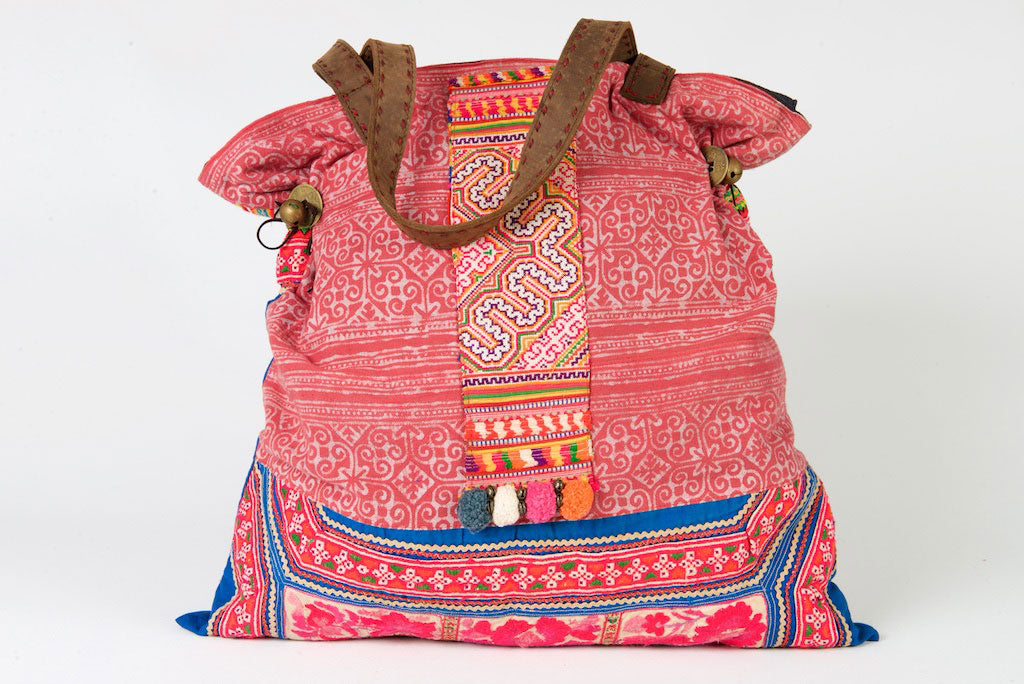 Casablanca - Large Vintage Boho Shoulder Bag Hmong Fabric Pink Coloured