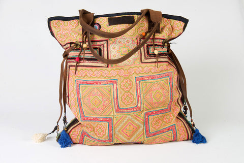 Casablanca - Large Vintage Boho Shoulder Bag Hmong Antique Pink, Yellow & Green Fabric