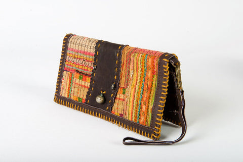 Vintage Boho Wallet One-Of-A-Kind Gold Tribal Fabric With Leather Strap & Clasp