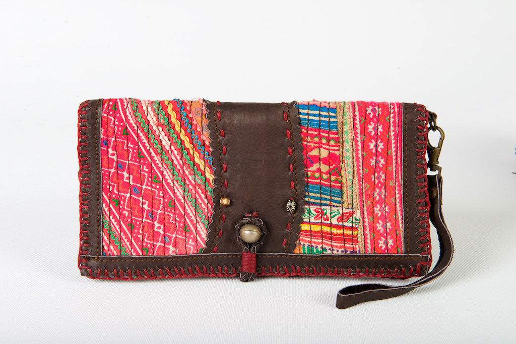 Vintage Boho Wallet One-Of-A-Kind Tribal Fabric Pink With Leather Strap & Clasp