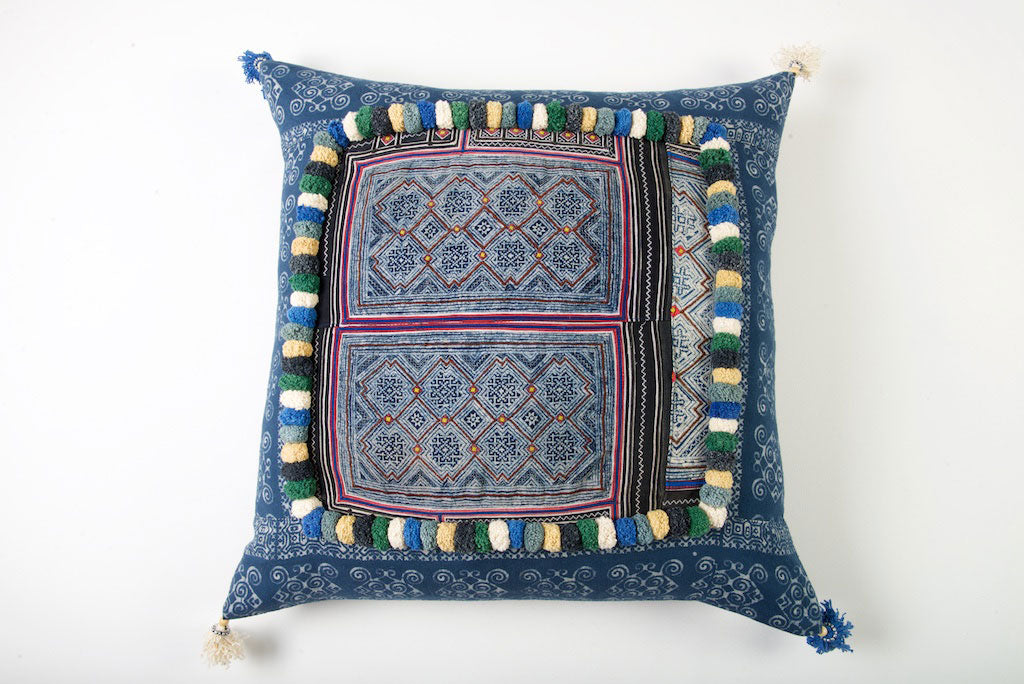 Hmong Tribal Cushion with Vintage Swatch and PomPoms 60cm x 60cm